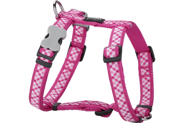 Red Dingo Dog Harness Gingham Hot Pink DH-GI-HP