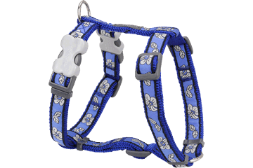 Red Dingo Dog Harness Hibiscus Dark Blue DH-HI-DB