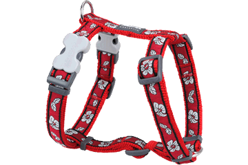 Red Dingo Dog Harness Hibiscus rood DH-HI-RE