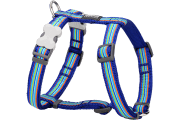 Red Dingo Dog Harness Horizontal Stripes Dark Blue DH-HO-DB