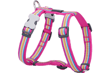 Red Dingo Dog Harness Horizontal Stripes Hot Pink DH-HO-HP