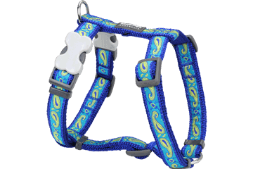 Red Dingo Dog Harness Paisley Dark Blue With Green DH-P2-DB