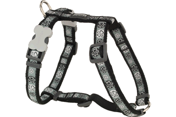 Red Dingo Dog Harness Paw Impressions Nero DH-PI-BB