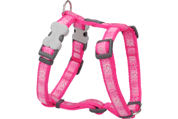 Red Dingo Dog Harness Paw Impressions Hot Pink DH-PI-HP