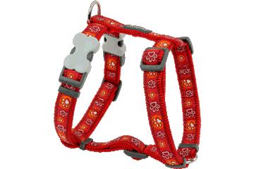 Red Dingo Dog Harness Paw Impressions Rosso DH-PI-RE