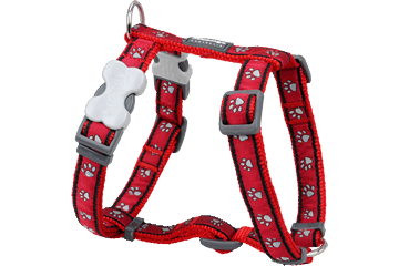 Red Dingo Dog Harness Paw Prints Rosso DH-PP-RE