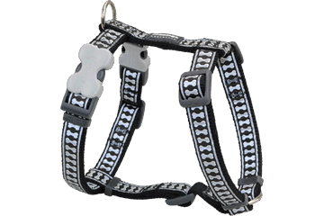 Red Dingo Dog Harness Reflective Bones Noire DH-RB-BB
