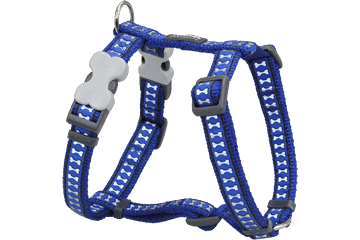 Red Dingo Dog Harness Reflective Bones Dark Blue DH-RB-DB