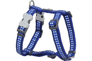 Red Dingo Dog Harness Reflective Bones Dark Blue DH-RB-DB