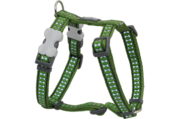 Red Dingo Dog Harness Reflective Bones Green DH-RB-GR