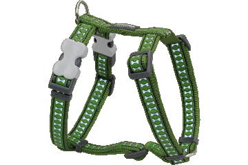 Red Dingo Dog Harness Reflective Bones Green DH-RB-GR