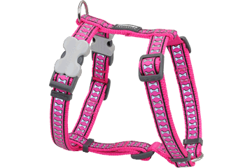 Red Dingo Dog Harness Reflective Bones Hot Pink DH-RB-HP