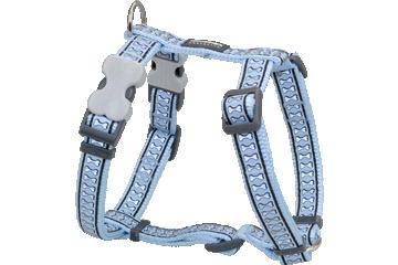 Red Dingo Dog Harness Reflective Bones Light Blue DH-RB-LB