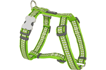 Red Dingo Dog Harness Reflective Bones Lime Green DH-RB-LG