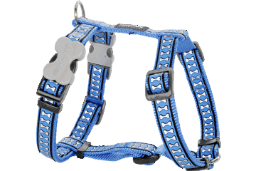 Red Dingo Dog Harness Reflective Bones Medium Blue DH-RB-MB