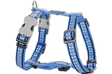 Red Dingo Dog Harness Reflective Bones Medium Blue DH-RB-MB