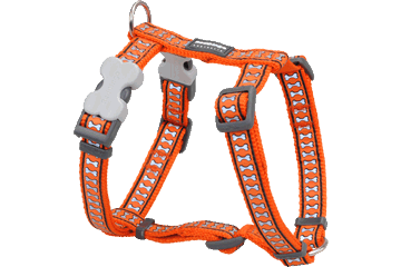 Red Dingo Dog Harness Reflective Bones Orange DH-RB-OR