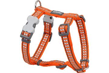 Red Dingo Dog Harness Reflective Bones Orange DH-RB-OR