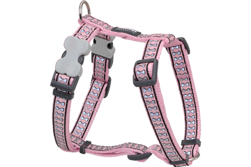 Red Dingo Dog Harness Reflective Bones Pink DH-RB-PK