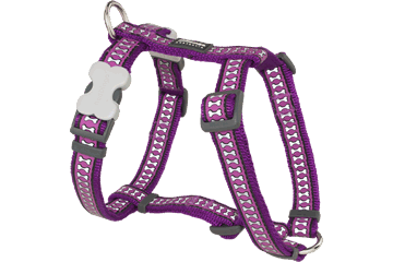 Red Dingo Dog Harness Reflective Bones Purple DH-RB-PU
