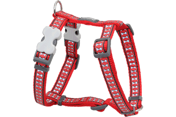Red Dingo Dog Harness Reflective Bones Red DH-RB-RE