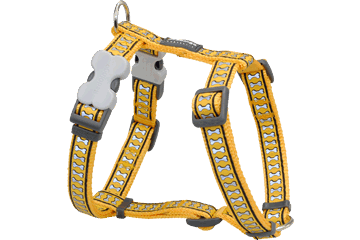 Red Dingo Dog Harness Reflective Bones Yellow DH-RB-YE