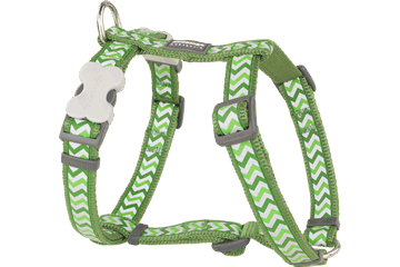 Red Dingo Dog Harness Reflective Ziggy Green DH-RZ-GR