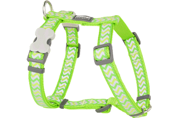 Red Dingo Dog Harness Reflective Ziggy Lime Green DH-RZ-LG