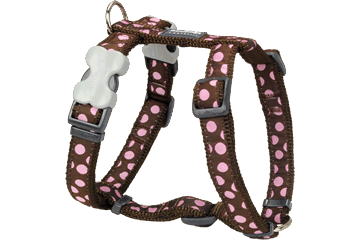 Red Dingo Dog Harness Pink Spots Marrone DH-S1-BR