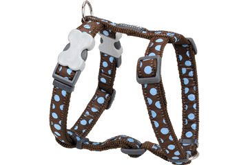 Red Dingo Dog Harness Blue Spots Marrone DH-S2-BR