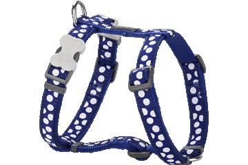 Red Dingo Dog Harness White Spots Dark Blue DH-S5-DB