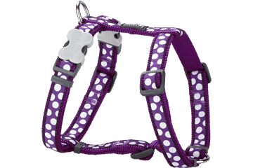 Red Dingo Dog Harness White Spots Viola DH-S5-PU