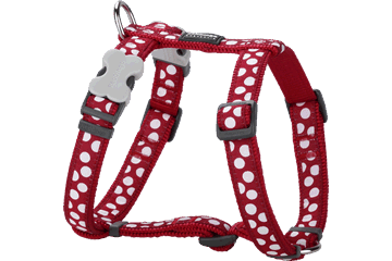 Red Dingo Dog Harness White Spots Rosso DH-S5-RE