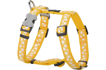 Red Dingo Dog Harness White Spots Giallo DH-S5-YE