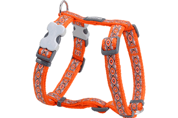 Red Dingo Dog Harness Snake Eyes Orange DH-SE-OR
