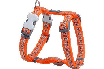 Red Dingo Dog Harness Snake Eyes Orange DH-SE-OR