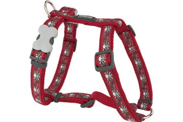 Red Dingo Dog Harness Skull & Roses Rosso DH-SR-RE