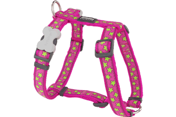 Red Dingo Dog Harness Stars Hot Pink DH-ST-HP