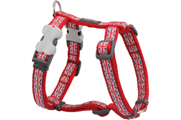 Red Dingo Dog Harness Union Jack Rosso DH-UK-RE
