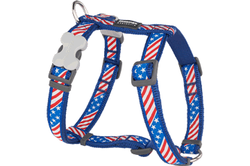 Red Dingo Dog Harness Stars & Stripes Dark Blue DH-US-DB