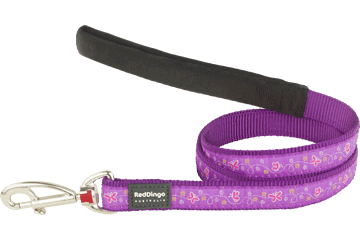 Red Dingo Fixed Length Lead Butterfly Purple L4-BL-PU