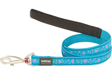 Red Dingo Fixed Length Lead Butterfly Turquoise L4-BL-TQ