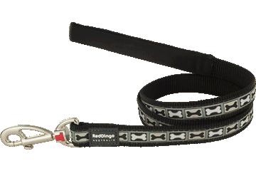 Red Dingo Fixed Length Lead Bone Yard Black L4-BY-BB