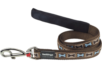 Red Dingo Fixed Length Lead Bone Yard Brown L4-BY-BR
