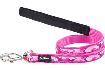 Red Dingo Fixed Length Lead Camouflage Hot Pink L4-CF-HP