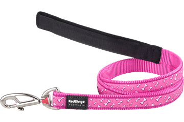Red Dingo Fixed Length Lead Flying Bones Hot Pink L4-FL-HP