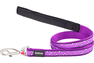 Red Dingo Fixed Length Lead Flying Bones Purple L4-FL-PU