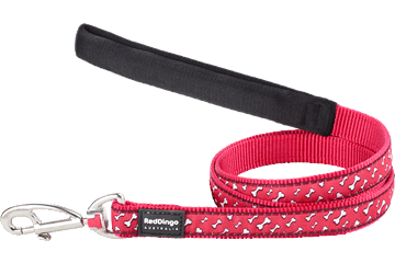 Red Dingo Fixed Length Lead Flying Bones Red L4-FL-RE