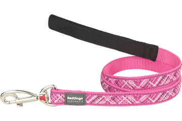 Red Dingo Fixed Length Lead Flanno Hot Pink L4-FN-HP