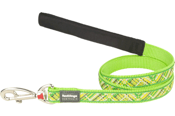 Red Dingo Fixed Length Lead Flanno Lime Green L4-FN-LG